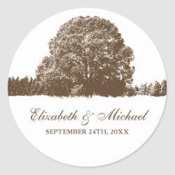Brown Oak Tree Fall Wedding Favor Label Classic Round Sticker