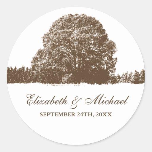 Brown Oak Tree Fall Wedding Favor Label Stickers