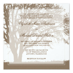 Brown Oak Tree Fall Wedding 5.25x5.25 Square Paper Invitation Card