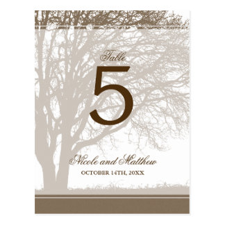 Brown Oak Tree Fall Wedding Table Number Postcard
