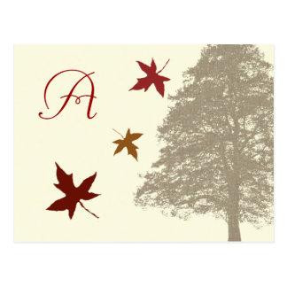 Brown Oak Tree Wedding Monogram Response Card