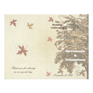 Brown Oak Tree Wedding Program