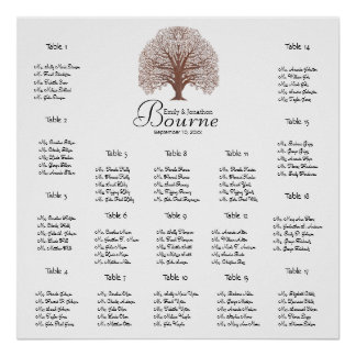 Brown Oak Tree Wedding Seating Chart 17 Tables Poster