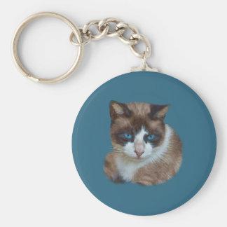 Brown observado azul y gato blanco llavero redondo tipo pin