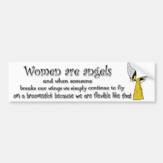 Brown observó a mujeres cabelludas negras es ángel pegatina de parachoque