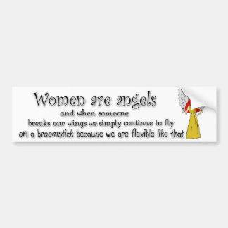 Brown observó a mujeres pelirrojas es ángeles etiqueta de parachoque