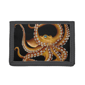 Brown Octopus Blue Eye Black Art Trifold Wallet