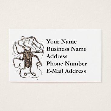 Beach Themed Brown Octopus Pencil Drawing Design Business Card