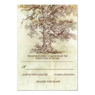brown old tree rustic wedding RSVP cards