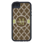 Brown Olive White Moroccan Quatrefoil Monogram iPhone 5 Covers