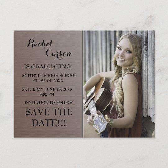 brown ombre save the date photo graduation announcement postcard