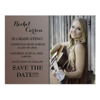 Brown Ombre' Save the Date Photo  Graduation Postcard