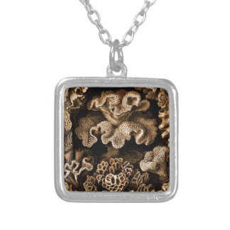 Brown on Black Coral Square Pendant Necklace
