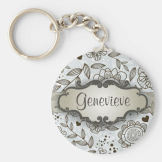 Brown on Blue Floral with Nameplate Basic Round Button Keychain