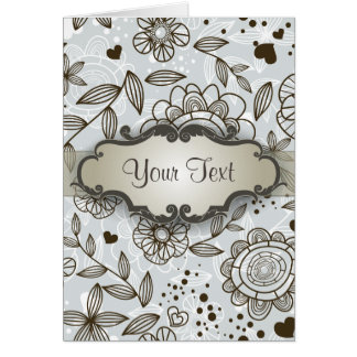 Brown on Blue Floral with Nameplate Card