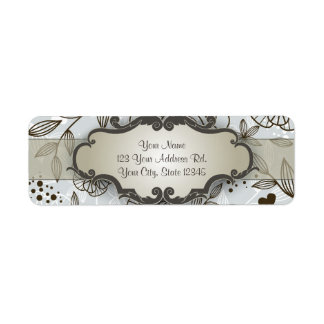 Brown on Blue Floral with Nameplate Label