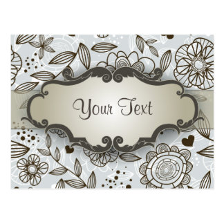 Brown on Blue Floral with Nameplate Postcard