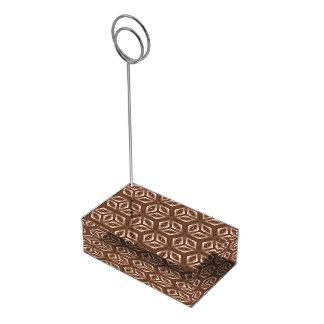 Brown Op Art Cubes Table Card Holder
