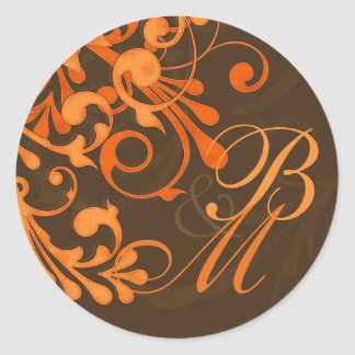 Brown Orange Abstract Floral Fall Wedding Stickers