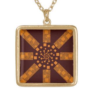 Brown orange alert tribal ethnic pendant earthy