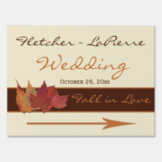 Brown, Orange, and Ivory Dried Leaves Wedding Sign