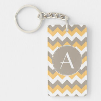 Brown, Orange and White Chevron Pattern Double-Sided Rectangular Acrylic Keychain