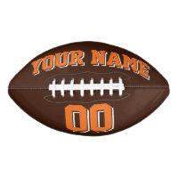 BROWN ORANGE AND WHITE Custom Football