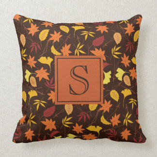 Brown Orange and Yellow Fall Leaves Monogram Throw Pillow