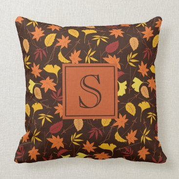 Halloween Themed Brown Orange and Yellow Fall Leaves Monogram Throw Pillow