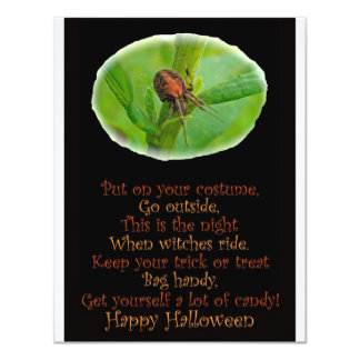 Brown Orange Araneus Halloween Party Invitation