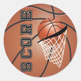 Brown Orange Basketball Classic Round Sticker