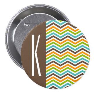 Brown, Orange, Blue & Green Chevron Stripes Buttons