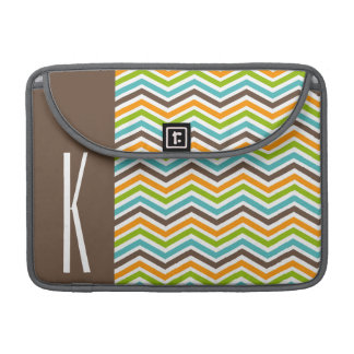 Brown, Orange, Blue & Green Chevron Stripes MacBook Pro Sleeve