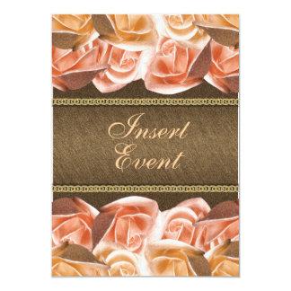 Brown orange champagne rose birthday wedding 5x7 paper invitation card