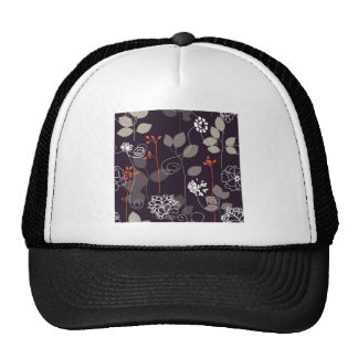 Brown/Orange Fall Floral Pattern Trucker Hat