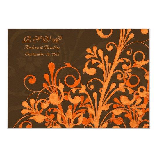 Brown Orange Floral Fall Wedding Response Card