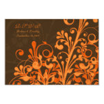Brown Orange Floral Fall Wedding Response Card Invites