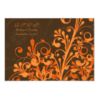 Brown Orange Floral Fall Wedding Response Card Invites
