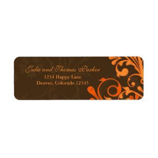 Brown Orange Floral Fall Wedding Return Address Return Address Label