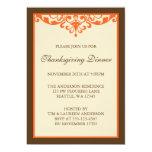 Brown & Orange Flourish Scroll Thanksgiving Dinner 5x7 Paper Invitation Card