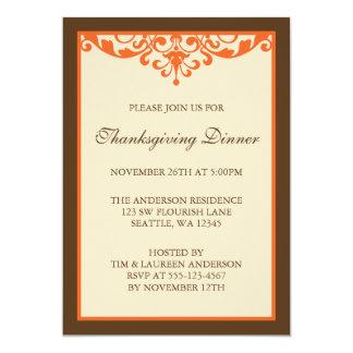 Brown & Orange Flourish Scroll Thanksgiving Dinner Personalized Announcement
