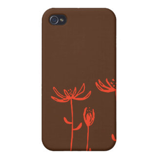brown orange flowers cover for iPhone 4