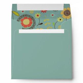 Brown & Orange Flowers Custom Envelope envelope
