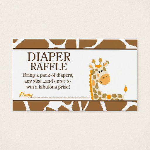 Brown/Orange Giraffe Baby Shower Diaper Raffle Business Card