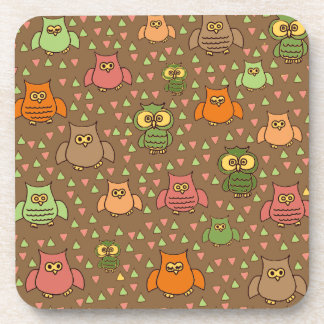 Brown Orange Green Pink Owl Cork Coaster