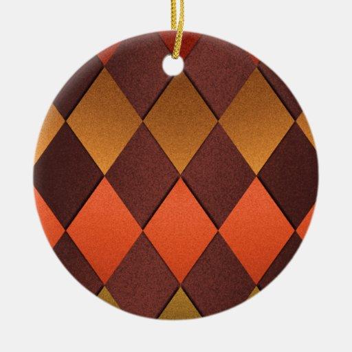 Brown Orange Harlequin Christmas Ornament