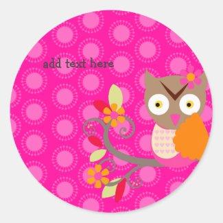 Brown+Orange+Hot Pink Owl stickers sticker