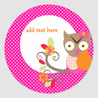 Brown+Orange+Hot Pink Owl stickers