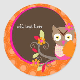 Brown+Orange+Hot Pink Owl stickers/add monogram Classic Round Sticker