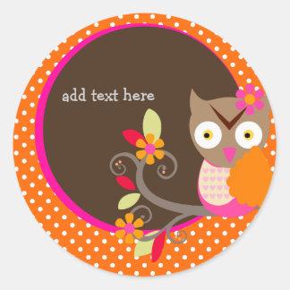 Brown+Orange+Hot Pink Owl stickers/add monogram Classic Round Sticker